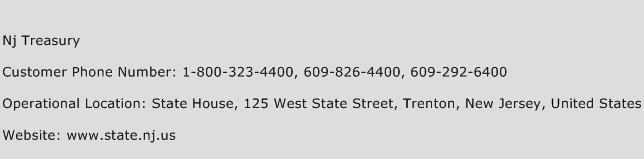 Nj Treasury Phone Number Customer Service