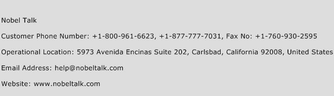 Nobel Talk Phone Number Customer Service