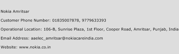 Nokia Amritsar Phone Number Customer Service