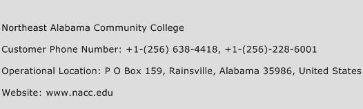 Northeast Alabama Community College Phone Number Customer Service