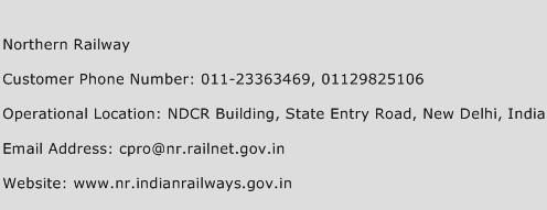 Northern Railway Phone Number Customer Service