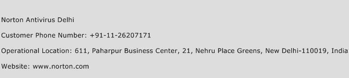 Norton Antivirus Delhi Phone Number Customer Service