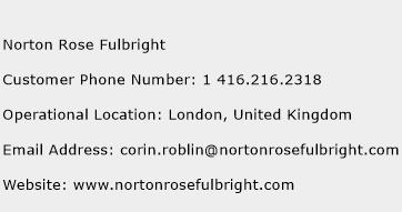 Norton Rose Fulbright Phone Number Customer Service