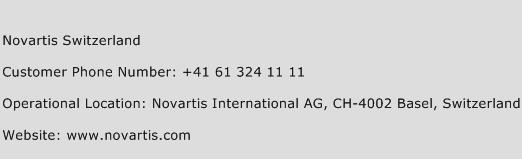 Novartis Switzerland Phone Number Customer Service