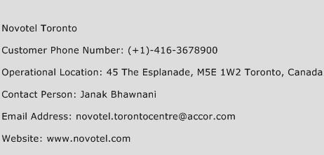 Novotel Toronto Phone Number Customer Service