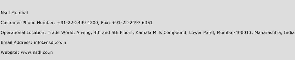 Nsdl Mumbai Phone Number Customer Service