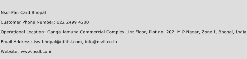Nsdl Pan Card Bhopal Phone Number Customer Service