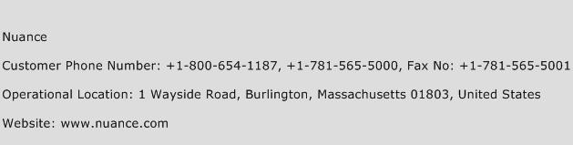 Nuance Phone Number Customer Service