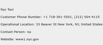 Nyc Taxi Phone Number Customer Service