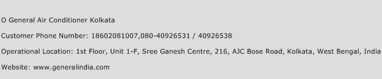 O General Air Conditioner Kolkata Phone Number Customer Service