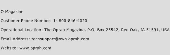 O Magazine Phone Number Customer Service
