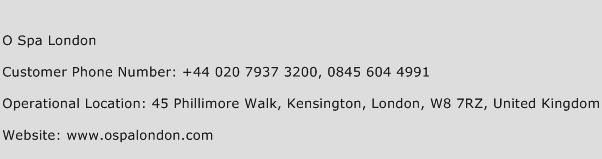 O Spa London Phone Number Customer Service