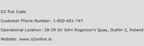 O2 Puk Code Phone Number Customer Service