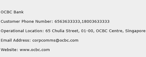 OCBC Bank Phone Number Customer Service