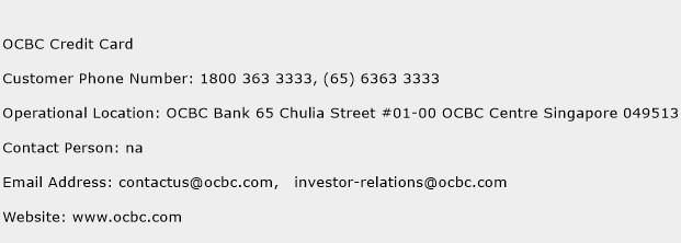 OCBC Credit Card Phone Number Customer Service