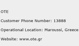 OTE Phone Number Customer Service