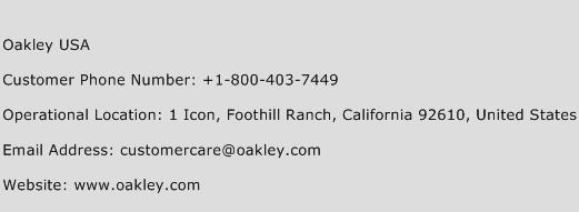 Oakley USA Phone Number Customer Service