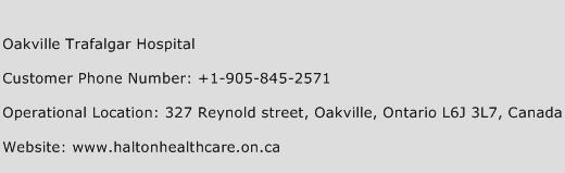 Oakville Trafalgar Hospital Phone Number Customer Service