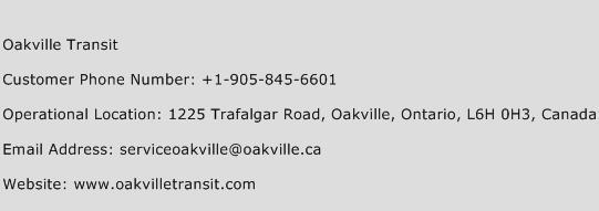 Oakville Transit Phone Number Customer Service