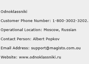 Odnoklassniki Phone Number Customer Service