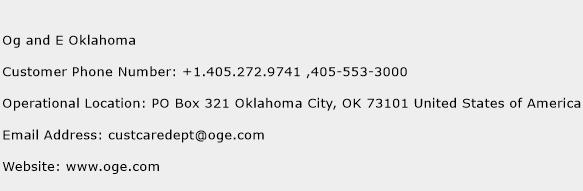 Og and E Oklahoma Phone Number Customer Service