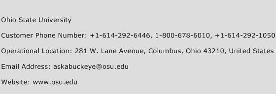 Ohio State University Phone Number Customer Service