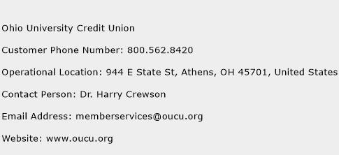 Ohio University Credit Union Phone Number Customer Service
