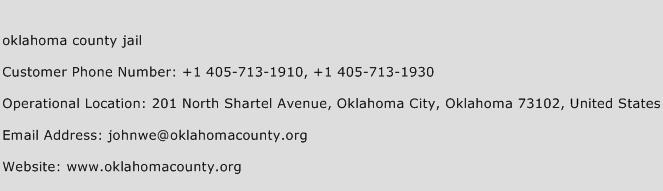 Oklahoma County Jail Phone Number Customer Service
