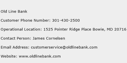 Old Line Bank Phone Number Customer Service