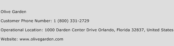 Olive Garden Phone Number Customer Service