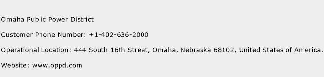 Omaha Public Power District Phone Number Customer Service