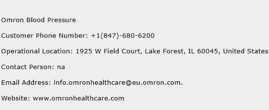 Omron Blood Pressure Phone Number Customer Service