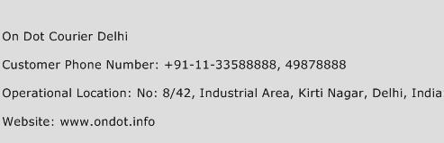 On Dot Courier Delhi Phone Number Customer Service