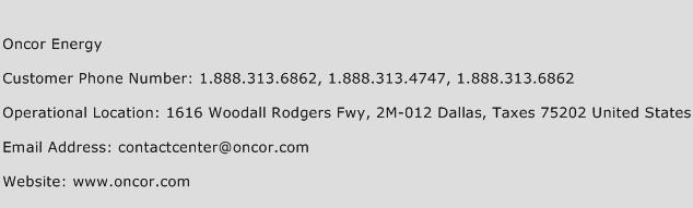 Oncor Energy Phone Number Customer Service