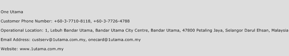 One Utama Phone Number Customer Service