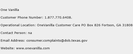 One Vanilla Phone Number Customer Service