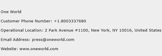 One World Phone Number Customer Service