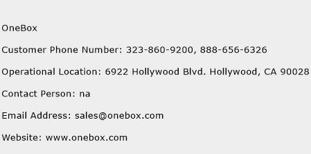 OneBox Phone Number Customer Service