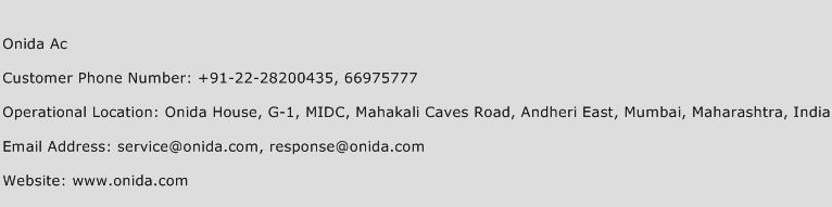 Onida Ac Phone Number Customer Service