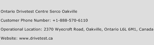 Ontario Drivetest Centre Serco Oakville Phone Number Customer Service