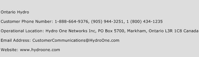 Ontario Hydro Phone Number Customer Service