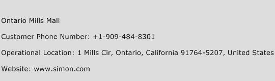 Ontario Mills Mall Phone Number Customer Service