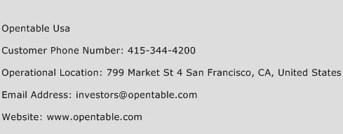 OpenTable USA Phone Number Customer Service