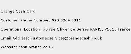 Orange Cash Card Phone Number Customer Service