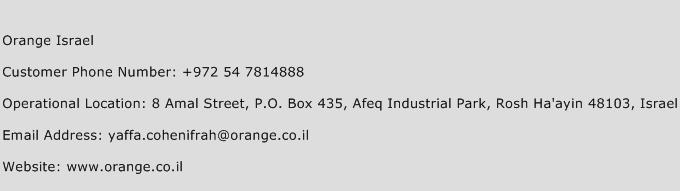 Orange Israel Phone Number Customer Service