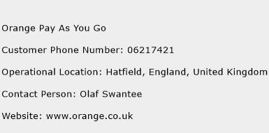 Orange Pay As You Go Phone Number Customer Service