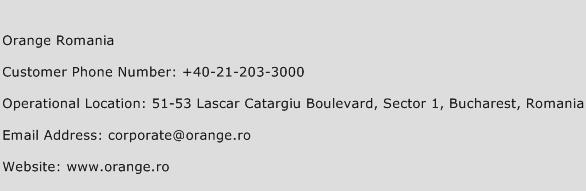 Orange Romania Phone Number Customer Service