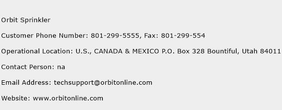 Orbit Sprinkler Phone Number Customer Service