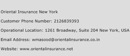 Oriental Insurance New York Phone Number Customer Service