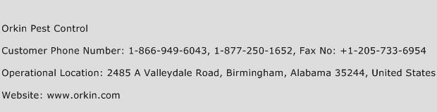Orkin Pest Control Phone Number Customer Service